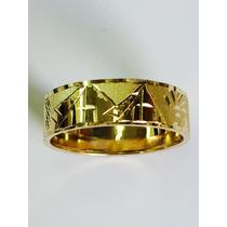 Anel Aliança Escrava Egípcio 7 Mm Amarelo Ouro 18k. 750.