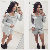 Conjunto Short E Blusa Moletom Feminino Moda Blogueiras