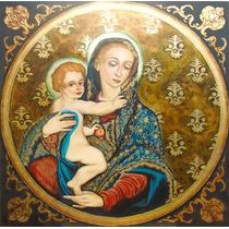 Quadro Nossa Senhora Da Pureza 70x70cm Pintura Sacra Óleo
