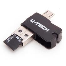 Pen Drive 8gb 3 Em 1 U-tech Leitor Cartão Conecta Celular Pc