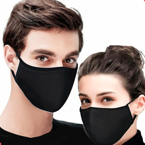Máscara Tecido Lavável Reutilizável Camada Dupla Preta