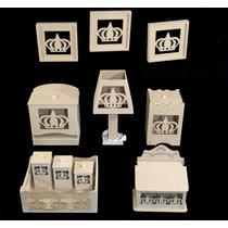 Kit Quarto Bebê Higiene Banho Mdf Farmacinha Coroa Quadros