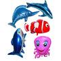 Balão Metalizado Golfinho Tubarão Nemo Baleia Fundo Do Mar