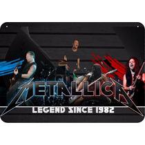 Placa Madeira Banda Metallica 28 Cm X 40 Cm - Retrô