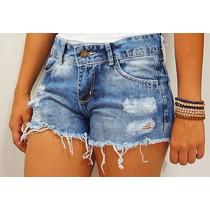 Shorts Jeans Destryed Cintura Media, Promoção, Do 36 Ao 44