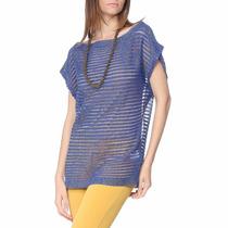 Blusa Com Fio Metalizado Azul Royal E Dourada
