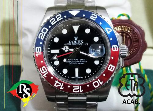 d60b3f617d4 Relogio Rolex Acab Eta Gmt Master Pepsi Top Safira Lxrs