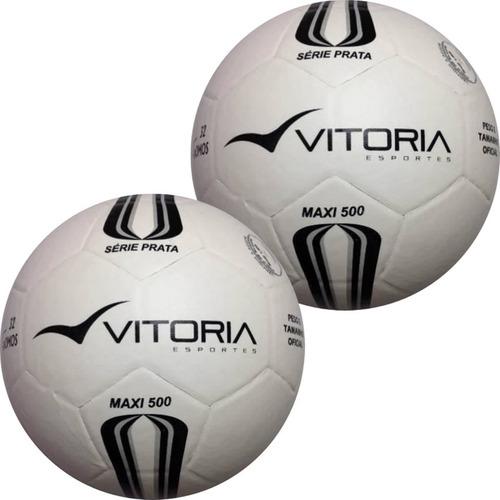 2 Bolas Futsal Vitoria Oficial Prata Max 500 Adulto Profis 09249a4c21216