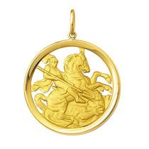 Leão Jóias Medalha São Jorge Em Ouro 18k 6gr Grande