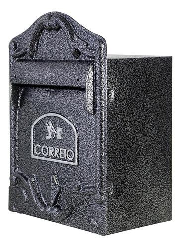 Caixa De Correio Preto Prata / Correspondência Luxo Colonial P/ Parede  Muro Ou Portão (medida Frontal 38x28 Cm )