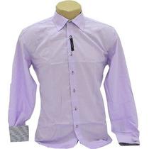 Camisa Slim Fit Luxo Social - Lilás - Peça Única