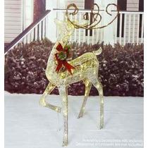 Decoração De Natal Rena Iluminada Com 75 Led 1,21 X 0,50