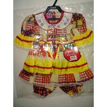 Vestido Festa Junina Menina Infantil 1 A 4 Anos Amarelo