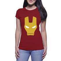 Camiseta Feminina Homem De Ferro - Vinho - Baby Look