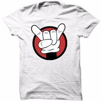 Camiseta Mickey Rock N Roll Moda Luva Camisa Moda Masculina