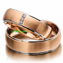 Par Alianças 8 Grs Ouro 18k 750 Diamantes Frete Nota Fiscal