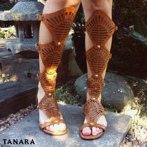 Sandália Tanara Gladiadora Rasteira N7901 Caramelo