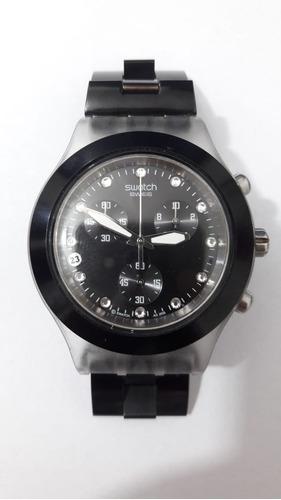 dfcda5b9cfd44 Relógio Swatch Full Blooded Black Svck4035g Original