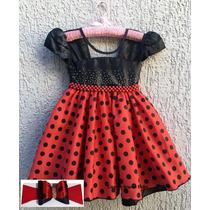 Vestido Minnie Vermelha Joaninha Bebe Disney Baby