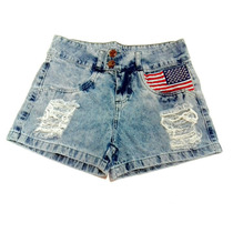 Short Jeans Bandeira Estados Unidos Eua Usa Destroyed Rasgad