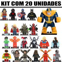 Kit 20 Bonecos Super Herois Marvel Dc Montar Compatível