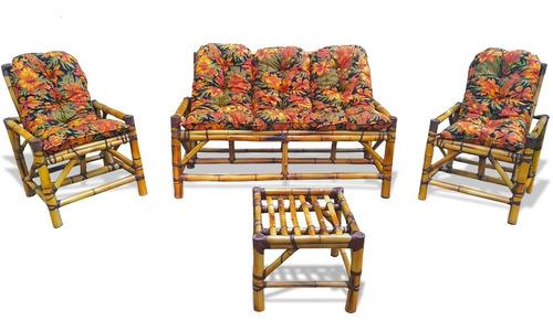 Conjunto De Sofá De Bambu Poltronas Cadeiras Vime Bambu Area