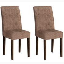 Conjunto 2 Cadeiras Viena Rufato Wengué/suede Amassado