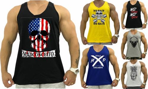 6 Regata Masculina Cavada Masculina Academia Camiseta Camisa 22c95331f0b