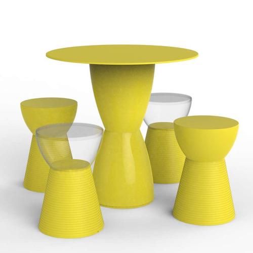 Conjunto De Mesa Com 4 Bancos Kitchen Amarelo