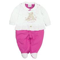 Lindo Macacão Bebê Menina Pink - Tamanho Rn Ao G