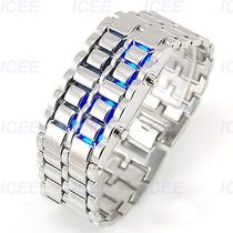Relógio Led De Pulso Exclusivo Bracelete Cor Prateado