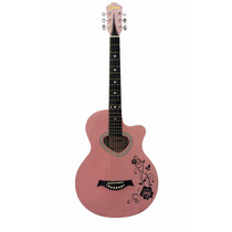 Violão Aço Elétrico Personalizado Flores Pink Rosa Core