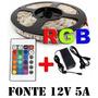 Kit 20m Fita Led 5050 Rgb + Amplificadores+emendas+fontes