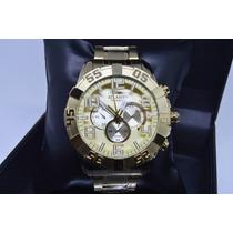 Relógio Masculino Dourado Original Atlantis Grande Estiloso