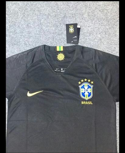 ee2231881f Camisa Seleção Brasileira Goleiro Preta Nike Dry-fit 2018. Preço  R  189  Veja MercadoLibre