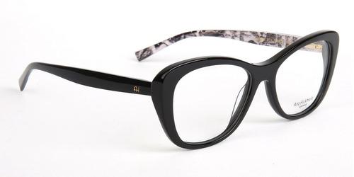 Armação Oculos Grau Ana Hickmann Ah6258 A01 Preto Brilho fd00300837