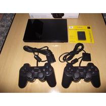 Playstation 2 Semi Novo Destr +2 Controles + Jogos De Brinde