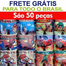 Cuecas Box Infantil Sublimadas Kit Com 50 - Atacado + Brinde
