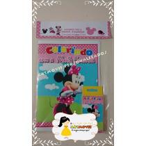 Kit Colorir Minnie Rosa Com Giz De Cera ( Artmovie)