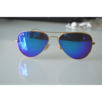 Óculos Modelo Aviador Roxo Espelhado Armação Dourada
