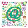 Letra Q Flores Rosa Teal Verde Inicial Lona Tecido Decorativ