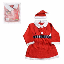 Roupa Fantasia Vestido Mamãe Noel Com Toca E Cinto Natal A31