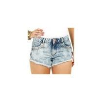 Short Feminino Em Jeans Marmorizado Com Puídos
