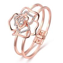 Pulseira Bracelete Feminino Banhada Ouro Rose 18k + Zircônia