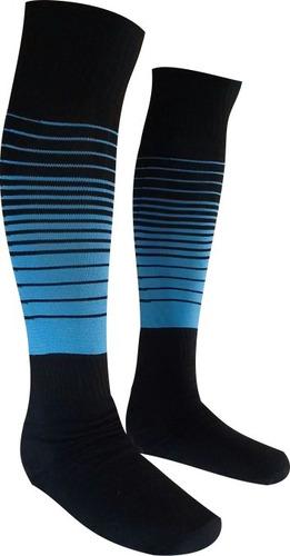 8d46a91350 Meião De Futebol Degrade Kit 15 Pares Preto Com Azul Celeste