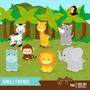 Kit Scrapbook Digital Animais Da Selva Imagens Clipart Cod17