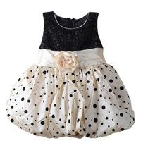 Vestido Festa Infantil Balonê Poá Branco Com Bolas Pretas