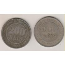 B81 - 200 Réis 1889/98 Frete Grátis As Duas Por R$ 30,00
