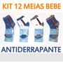 Kit 12 Pares Meia Bebe Antiderrapante Atacado Roupa Bebe