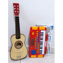 Kit Infantil Teclado  Musical + Violão Madeira - Promoção